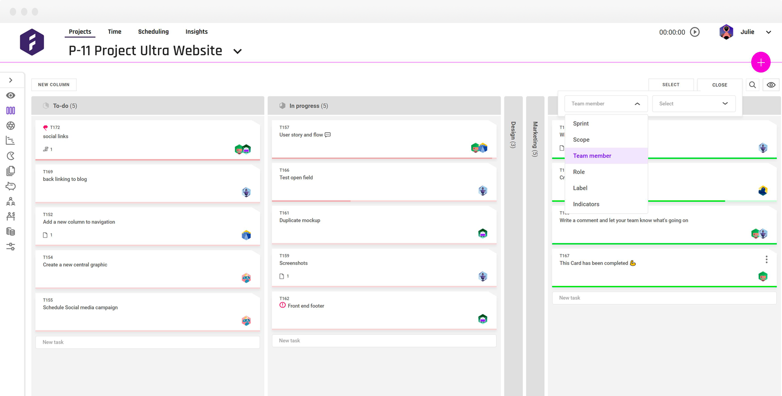 filter by team member workflow with browser